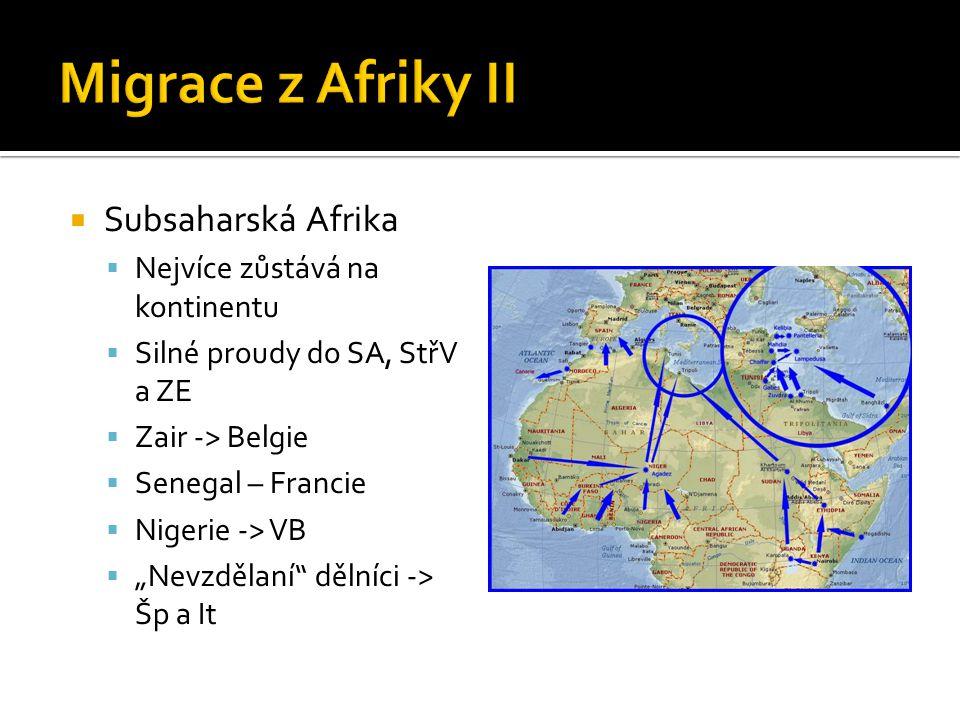 Migrace z Afriky II Subsaharská Afrika Nejvíce zůstává na kontinentu
