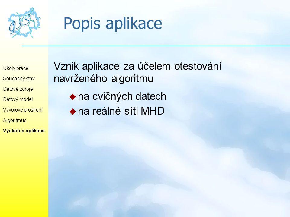 Popis aplikace Vznik aplikace za účelem otestování navrženého algoritmu. na cvičných datech. na reálné síti MHD.