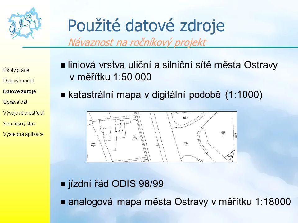 Použité datové zdroje Návaznost na ročníkový projekt