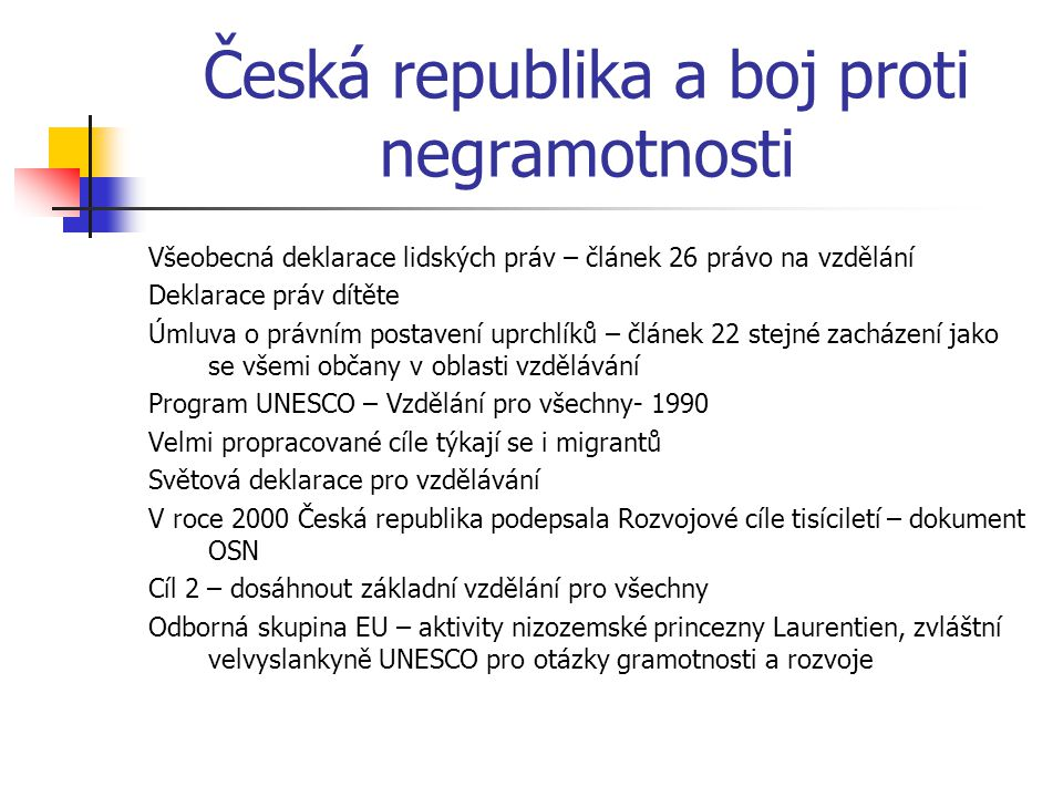 Česká republika a boj proti negramotnosti