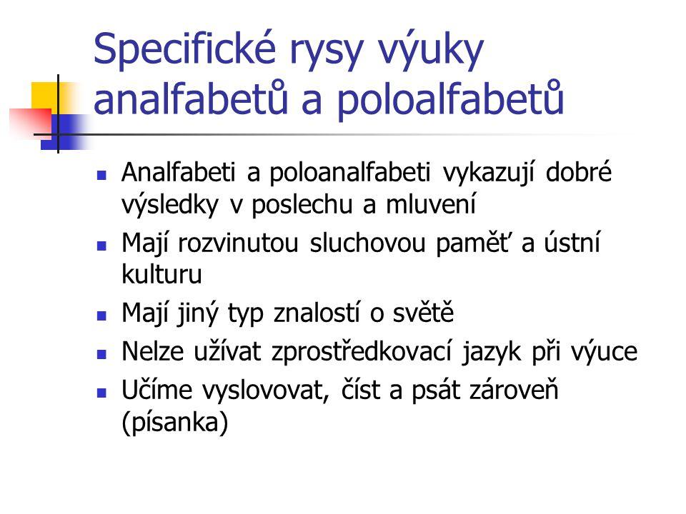 Specifické rysy výuky analfabetů a poloalfabetů