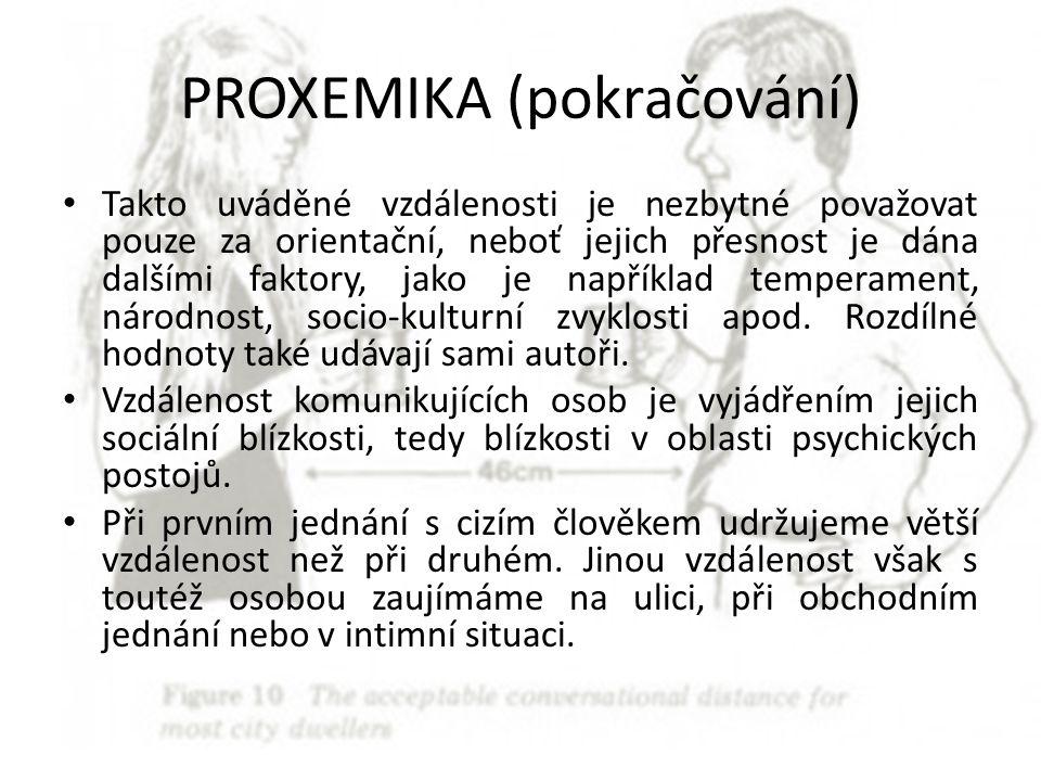 PROXEMIKA (pokračování)