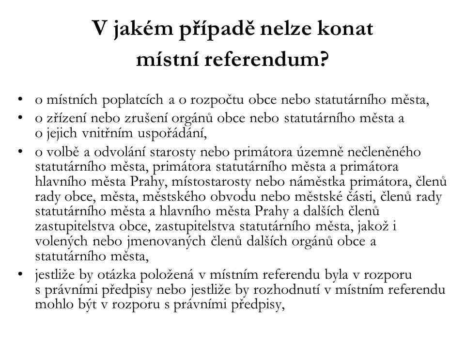 V jakém případě nelze konat místní referendum