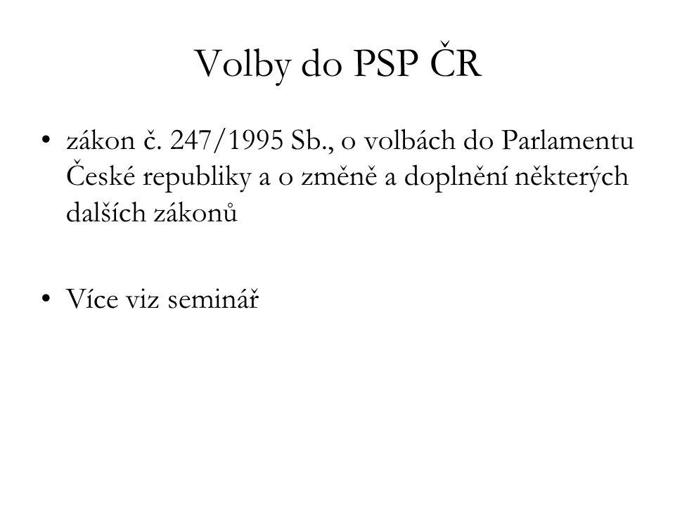 Volby do PSP ČR zákon č. 247/1995 Sb., o volbách do Parlamentu České republiky a o změně a doplnění některých dalších zákonů.