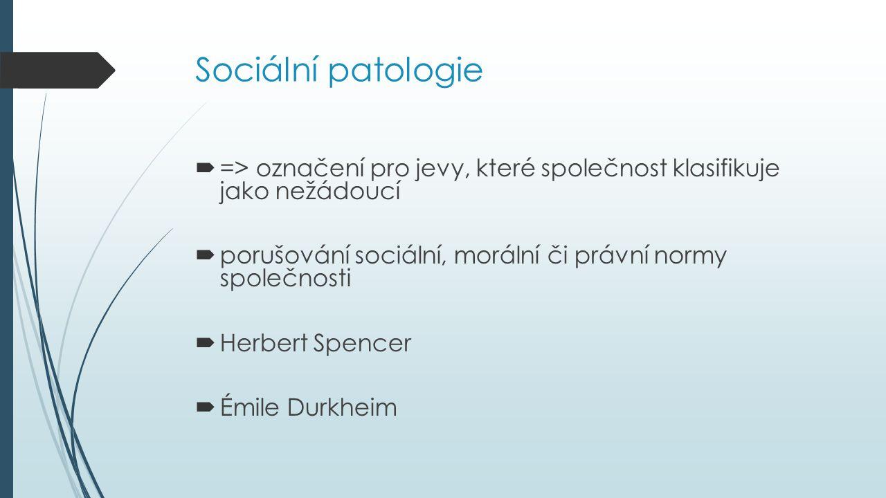 Sociální patologie => označení pro jevy, které společnost klasifikuje jako nežádoucí. porušování sociální, morální či právní normy společnosti.