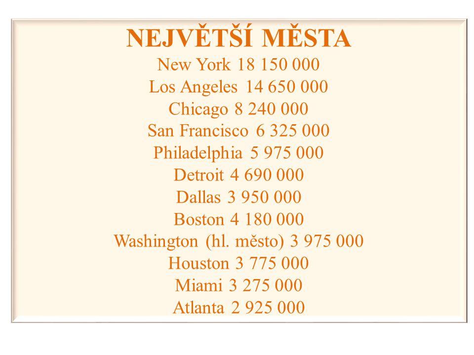 NEJVĚTŠÍ MĚSTA New York 18 150 000 Los Angeles 14 650 000