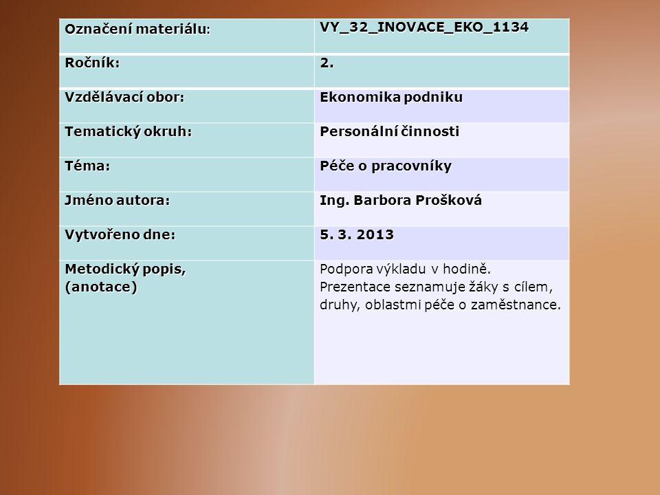 Označení materiálu: VY_32_INOVACE_EKO_1134. Ročník: 2. Vzdělávací obor: Ekonomika podniku. Tematický okruh: