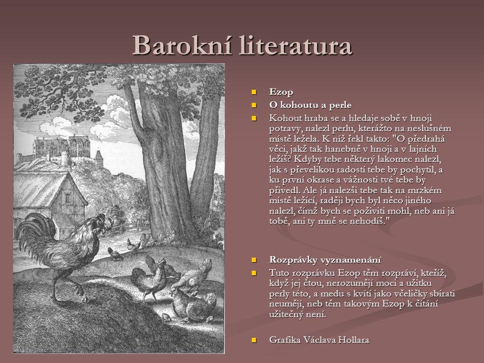 Barokní literatura Ezop O kohoutu a perle
