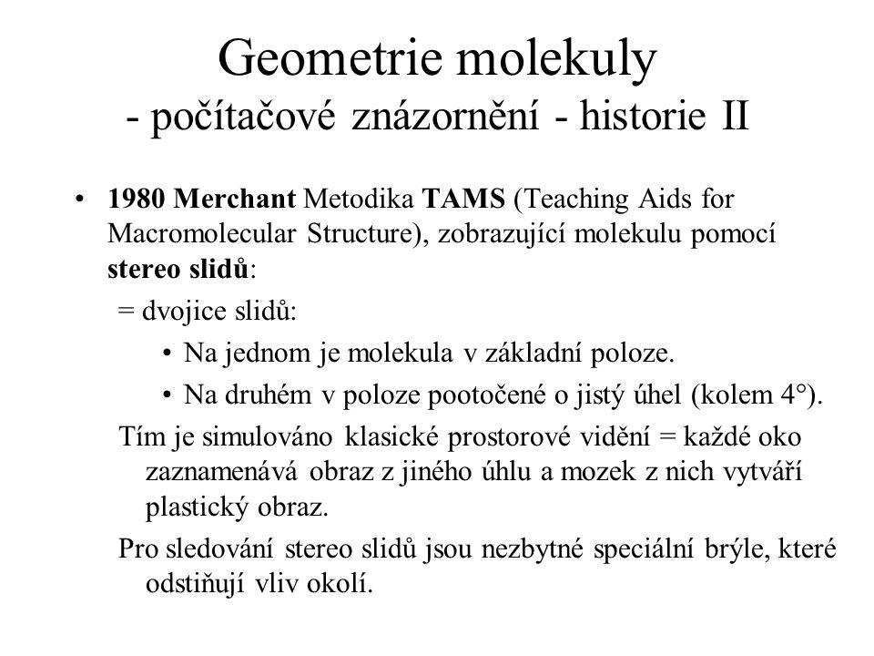 Geometrie molekuly - počítačové znázornění - historie II