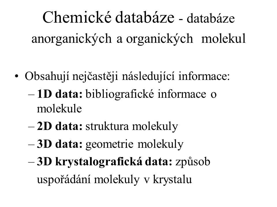 Chemické databáze - databáze anorganických a organických molekul