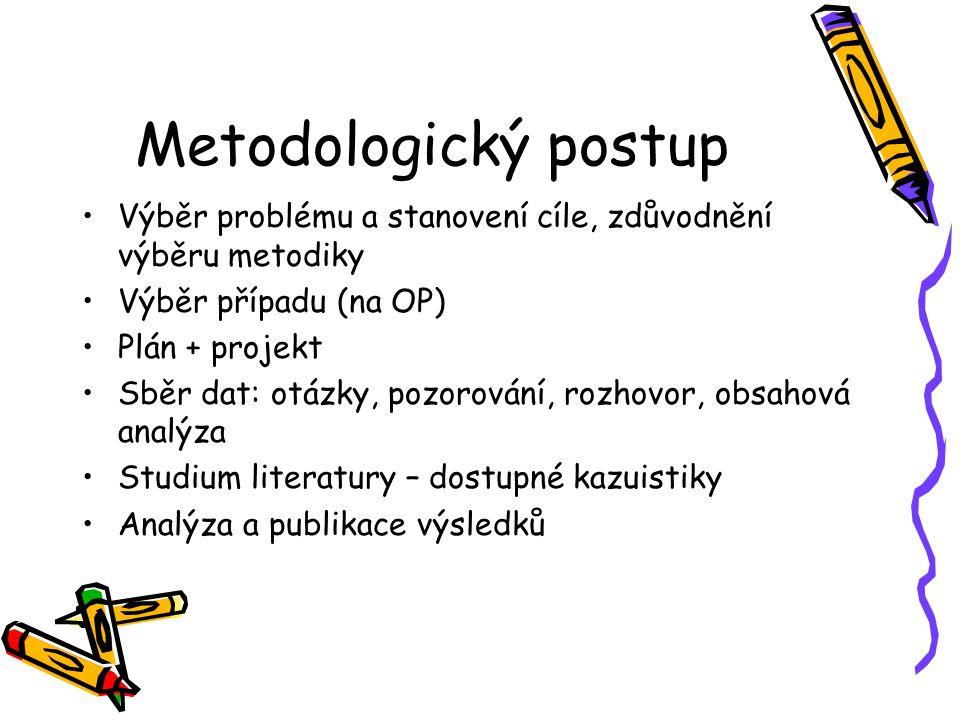 Metodologický postup Výběr problému a stanovení cíle, zdůvodnění výběru metodiky. Výběr případu (na OP)