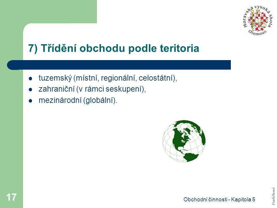 7) Třídění obchodu podle teritoria