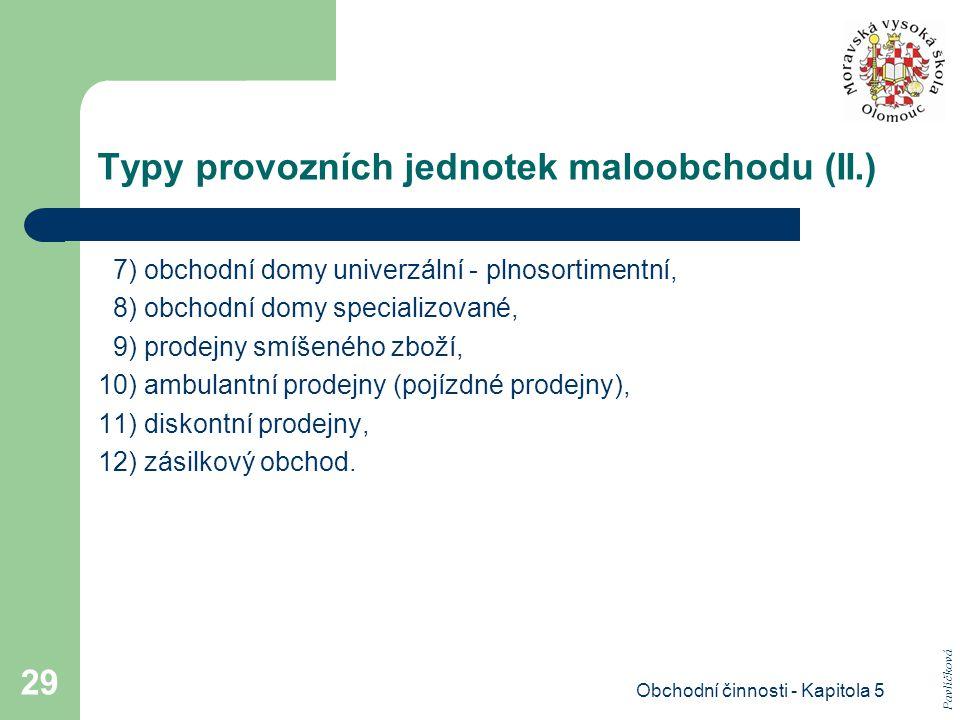 Typy provozních jednotek maloobchodu (II.)