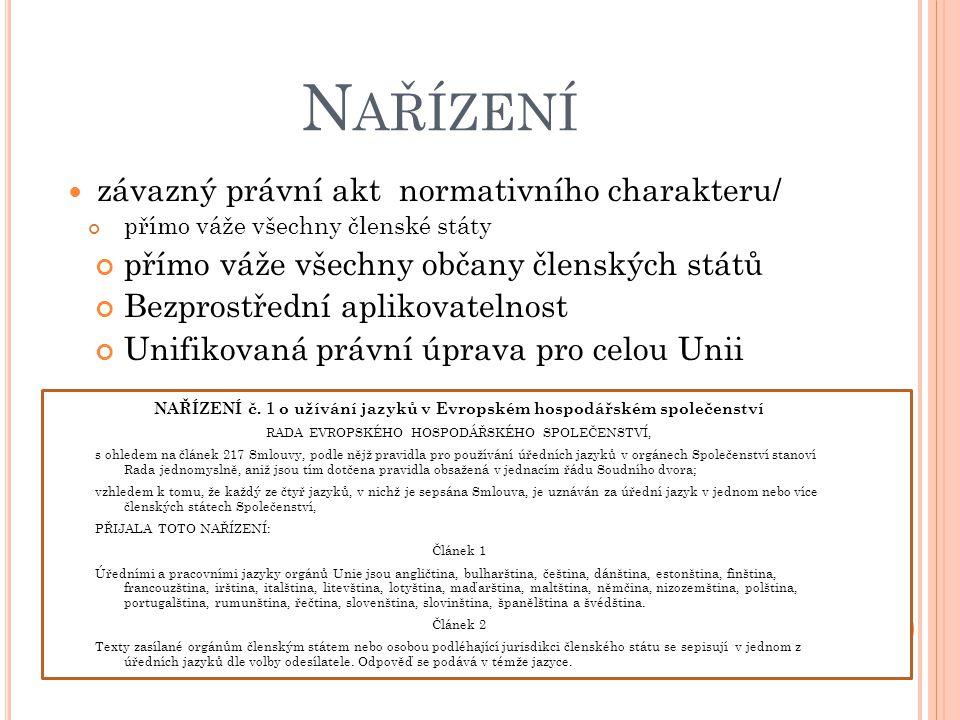 NAŘÍZENÍ č. 1 o užívání jazyků v Evropském hospodářském společenství