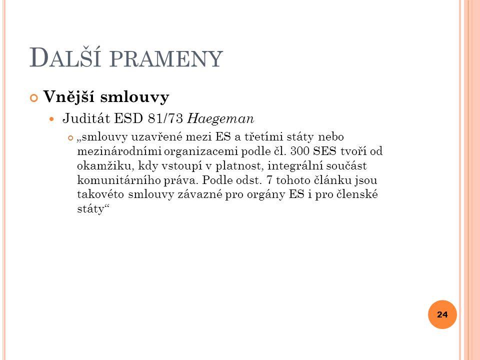 Další prameny Vnější smlouvy Juditát ESD 81/73 Haegeman