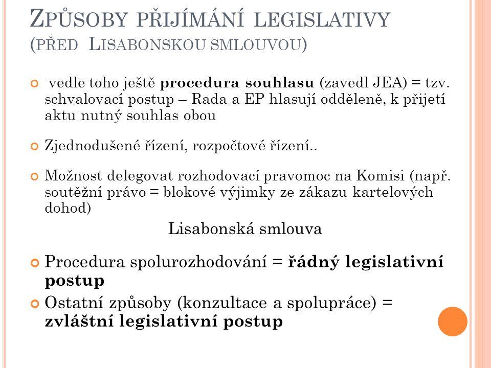 Způsoby přijímání legislativy (před Lisabonskou smlouvou)