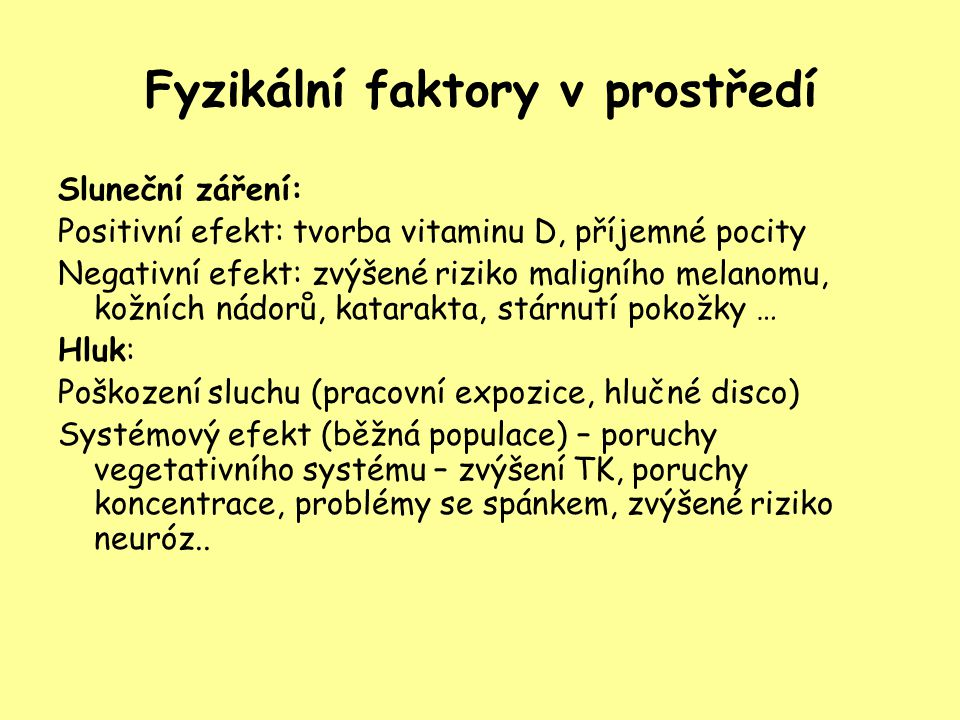 Fyzikální faktory v prostředí