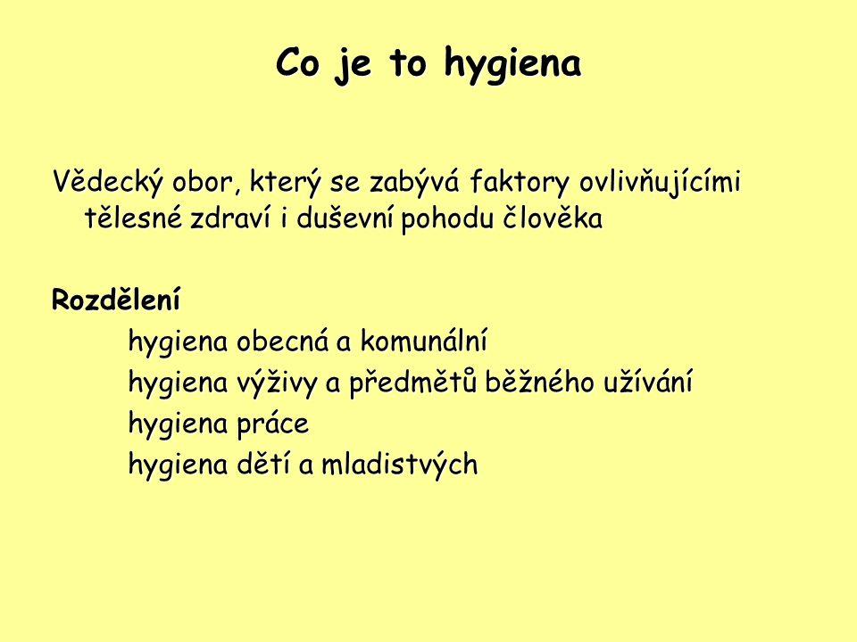 Co je to hygiena Vědecký obor, který se zabývá faktory ovlivňujícími tělesné zdraví i duševní pohodu člověka.