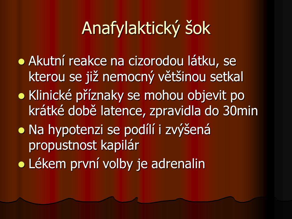 Anafylaktický šok Akutní reakce na cizorodou látku, se kterou se již nemocný většinou setkal.