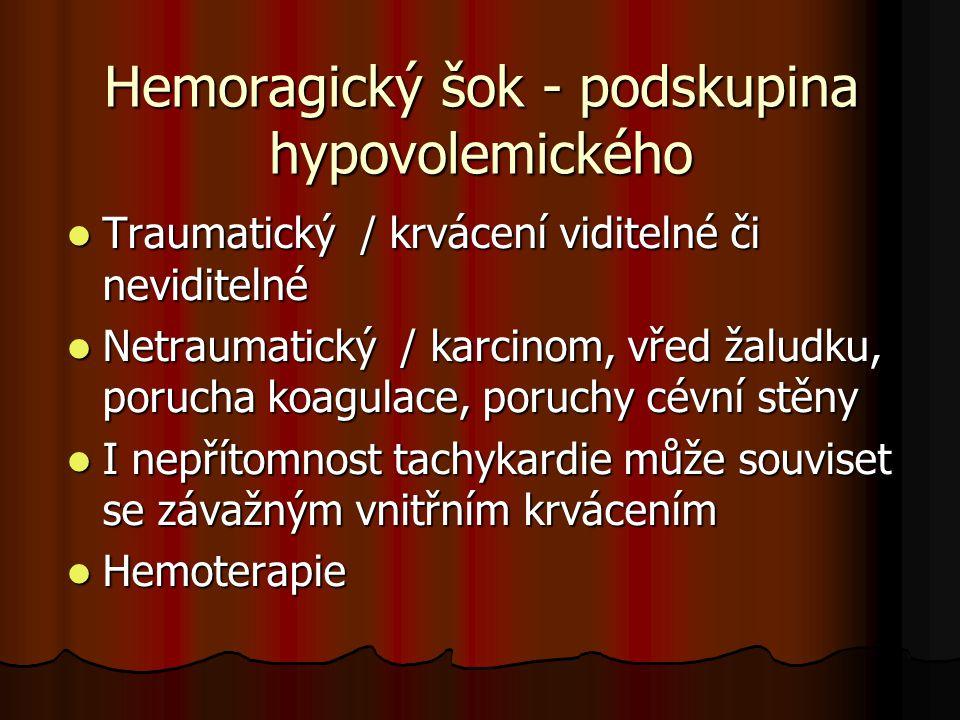 Hemoragický šok - podskupina hypovolemického