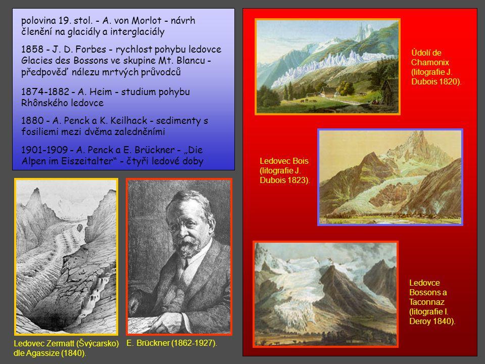 1874-1882 - A. Heim - studium pohybu Rhônského ledovce