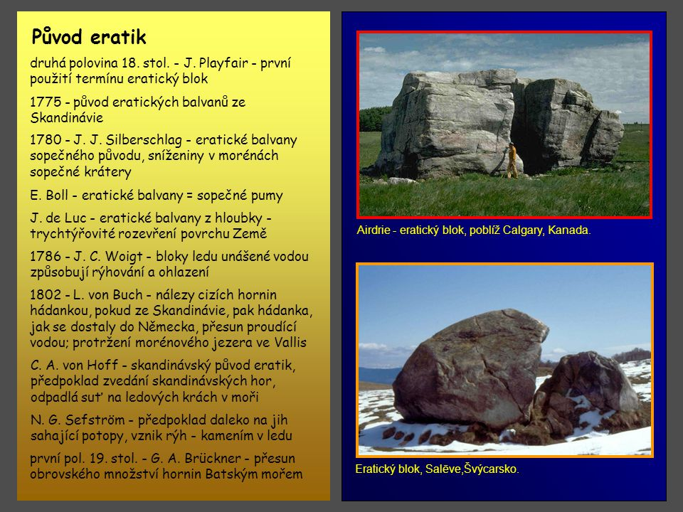 Původ eratik Airdrie - eratický blok, poblíž Calgary, Kanada. druhá polovina 18. stol. - J. Playfair - první použití termínu eratický blok.