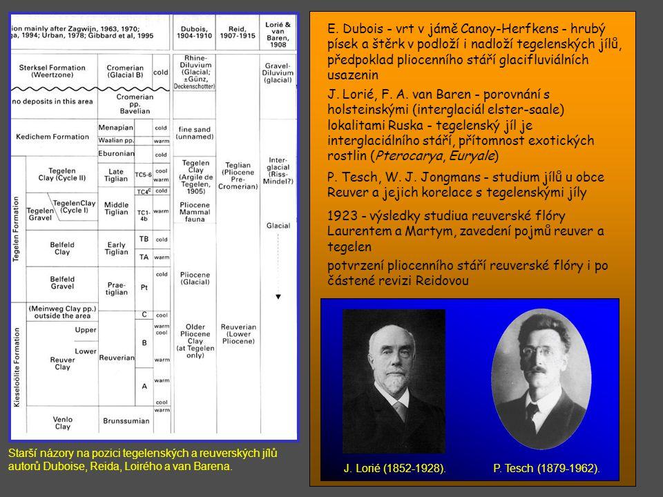 Starší názory na pozici tegelenských a reuverských jílů autorů Duboise, Reida, Loirého a van Barena.