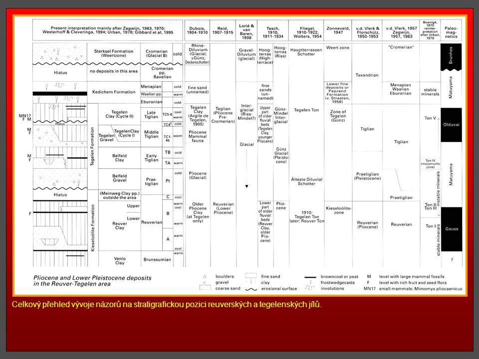 Celkový přehled vývoje názorů na stratigrafickou pozici reuverských a tegelenských jílů.