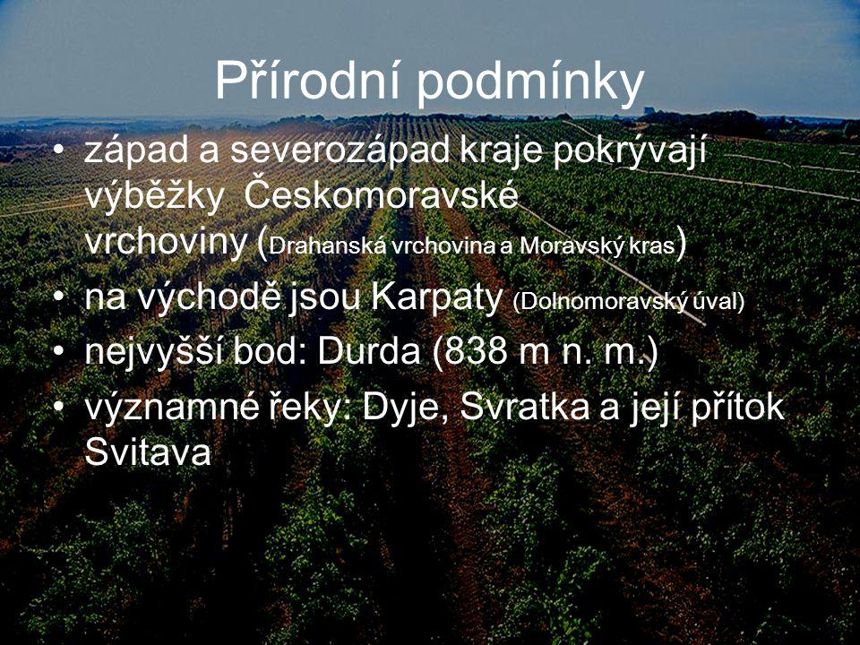 Přírodní podmínky západ a severozápad kraje pokrývají výběžky Českomoravské vrchoviny (Drahanská vrchovina a Moravský kras)