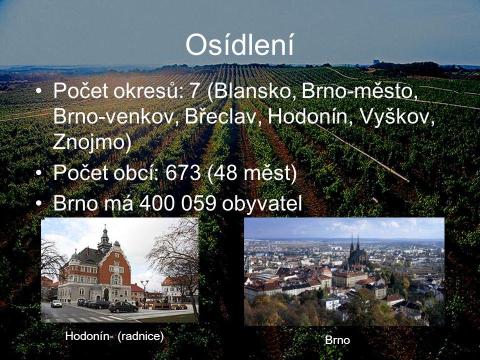 Osídlení Počet okresů: 7 (Blansko, Brno-město, Brno-venkov, Břeclav, Hodonín, Vyškov, Znojmo) Počet obcí: 673 (48 měst)