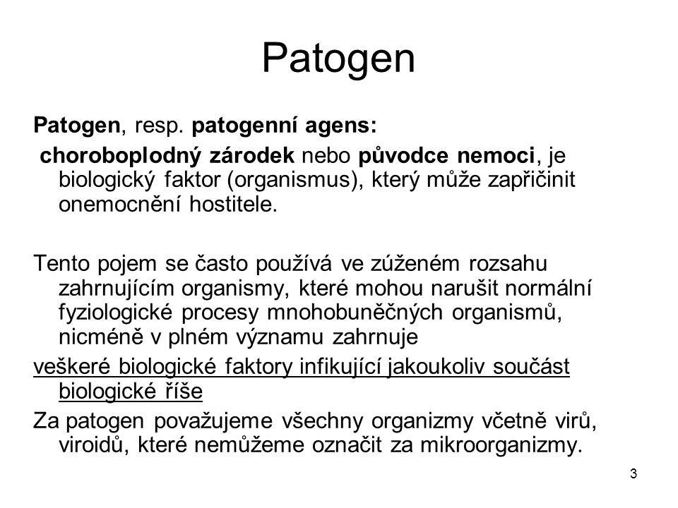 Patogen Patogen, resp. patogenní agens: