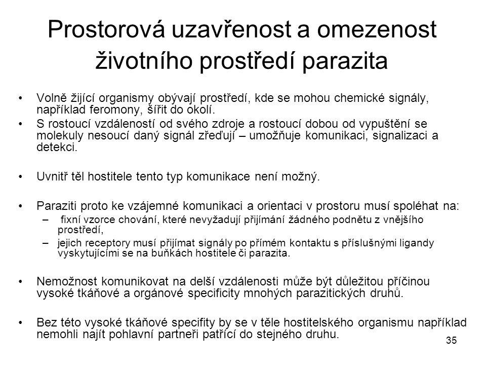 Prostorová uzavřenost a omezenost životního prostředí parazita