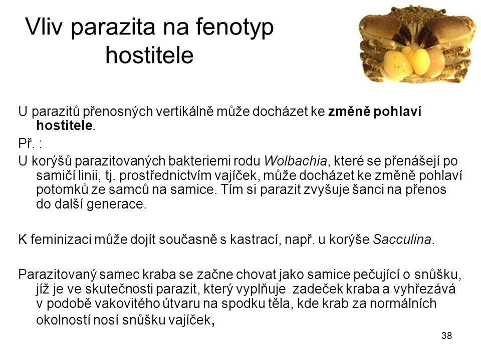 Vliv parazita na fenotyp hostitele