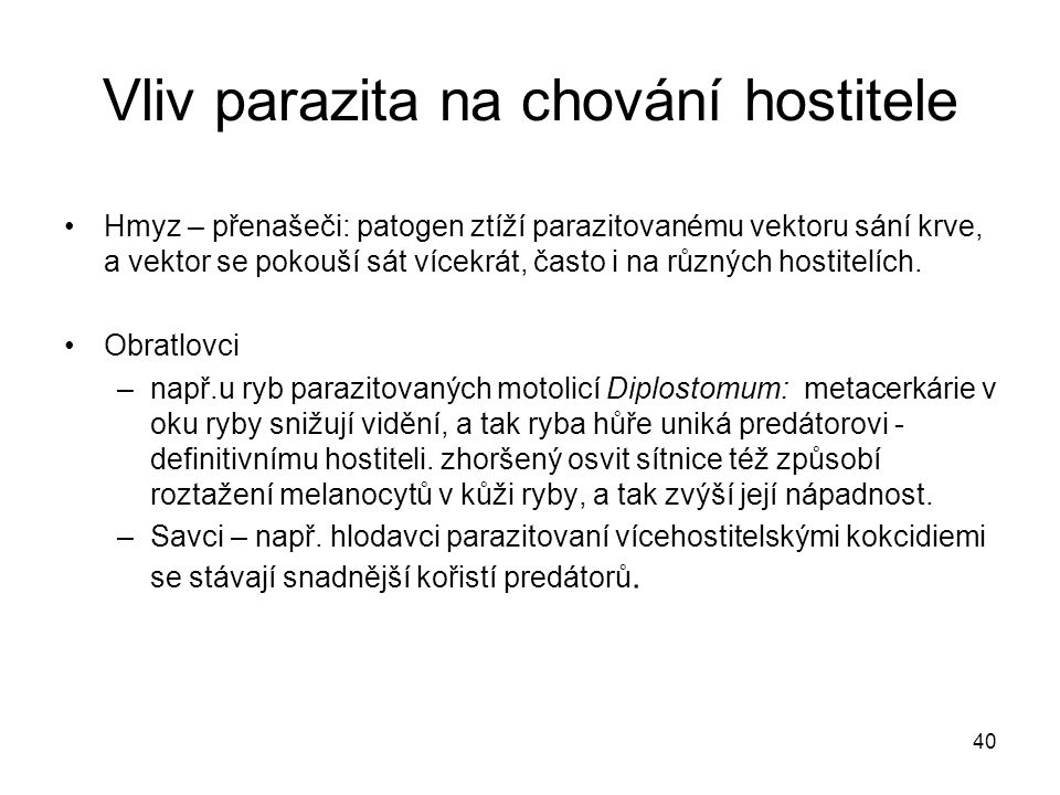 Vliv parazita na chování hostitele