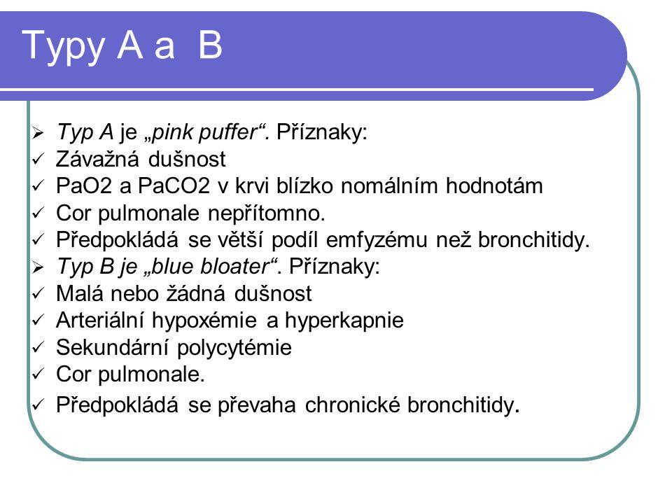 """Typy A a B Typ A je """"pink puffer . Příznaky: Závažná dušnost"""