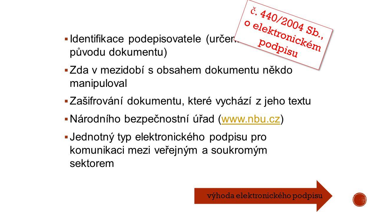 Identifikace podepisovatele (určení věrohodnosti původu dokumentu)