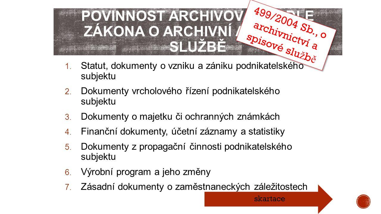 Povinnost archivovat podle zákona o archivní a spisové službě