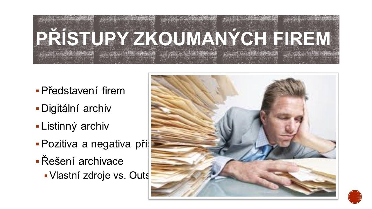 Přístupy zkoumaných firem