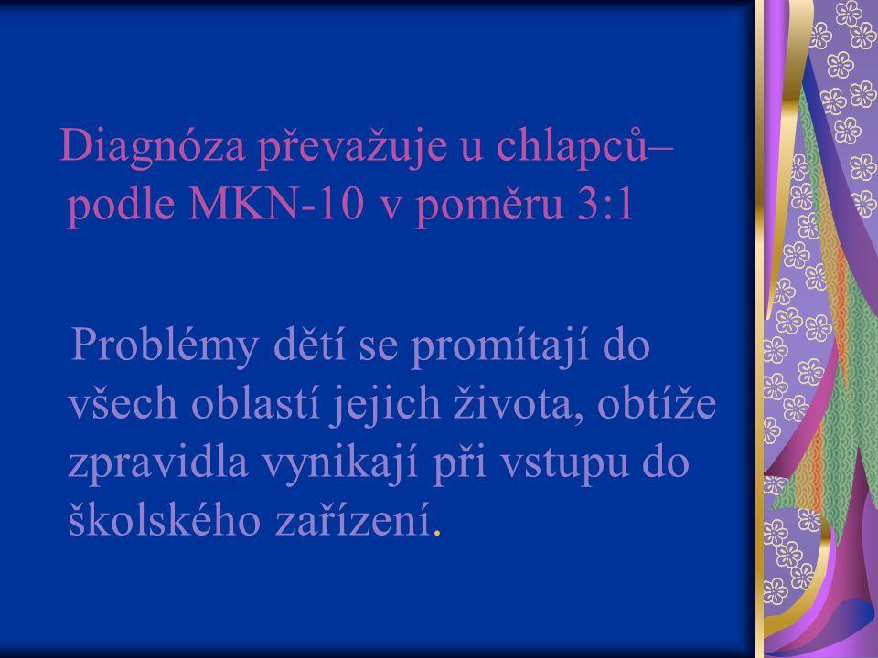 Diagnóza převažuje u chlapců–podle MKN-10 v poměru 3:1