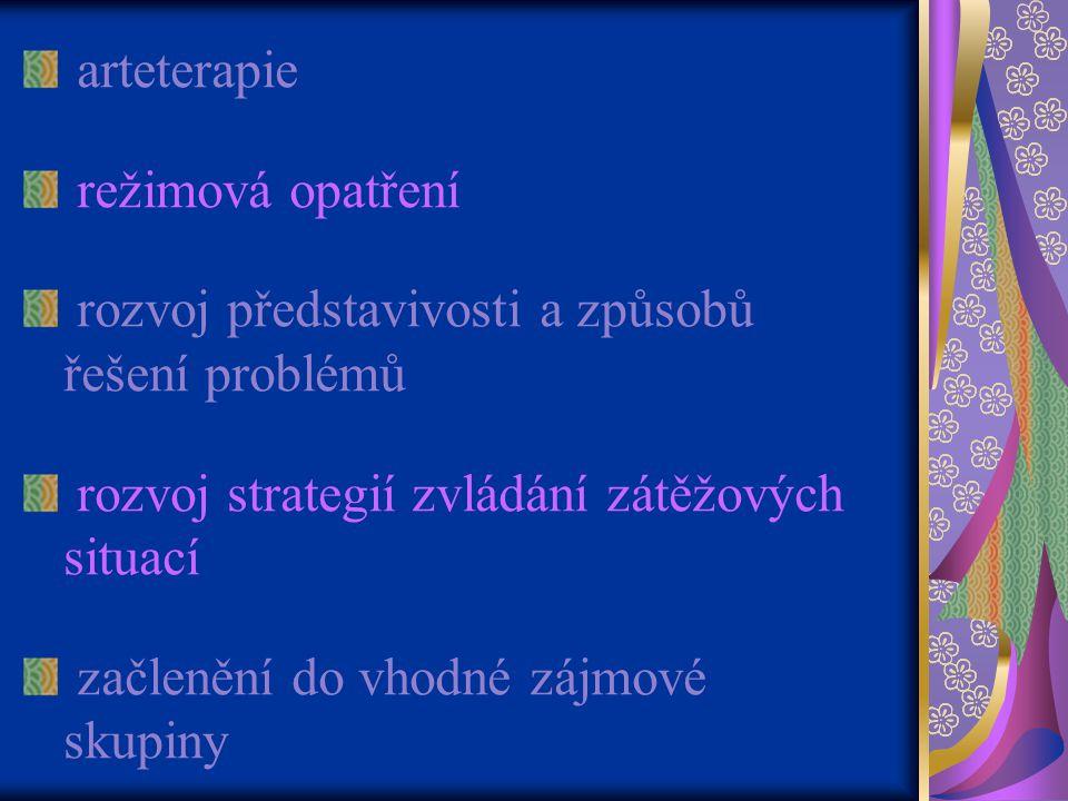 arteterapie režimová opatření. rozvoj představivosti a způsobů řešení problémů. rozvoj strategií zvládání zátěžových situací.