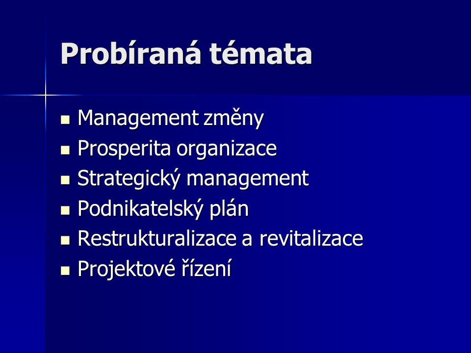 Probíraná témata Management změny Prosperita organizace