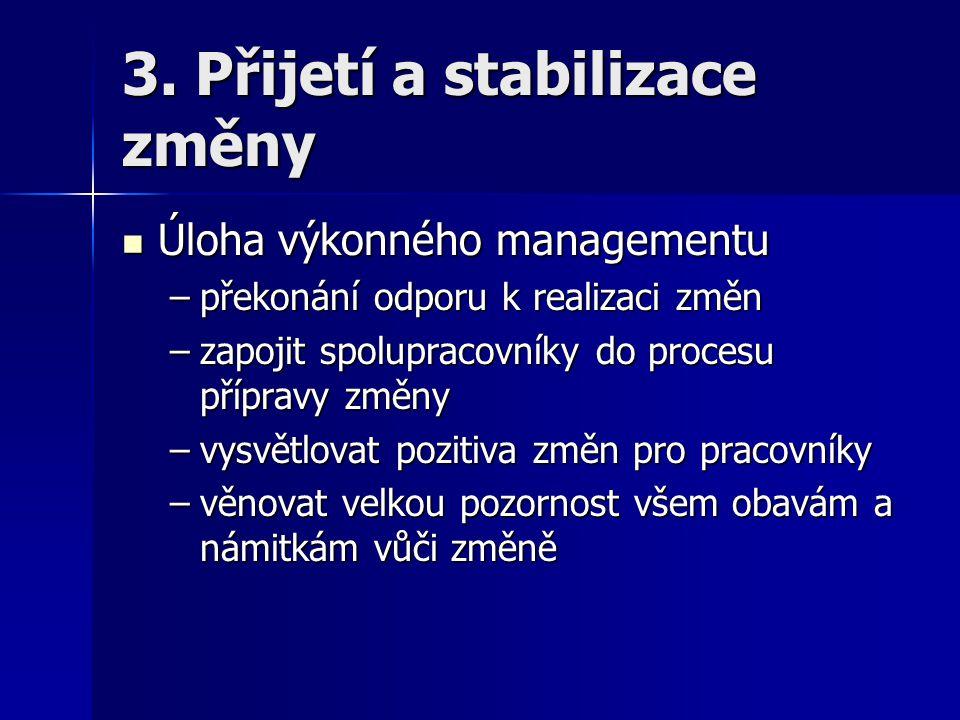 3. Přijetí a stabilizace změny