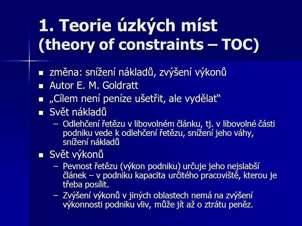 1. Teorie úzkých míst (theory of constraints – TOC)
