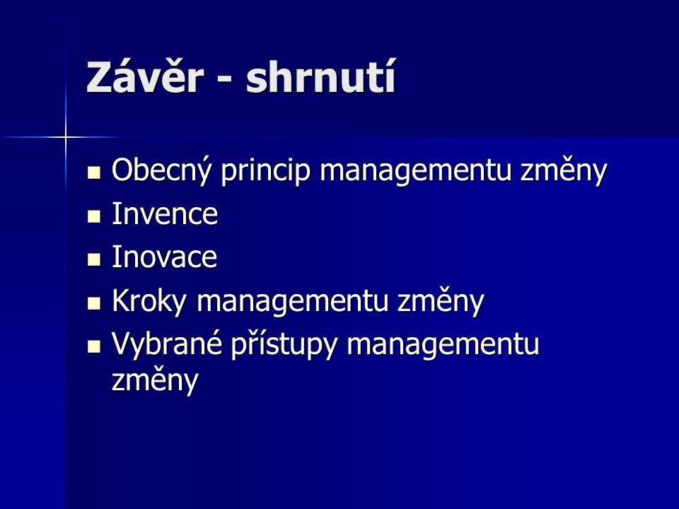 Závěr - shrnutí Obecný princip managementu změny Invence Inovace