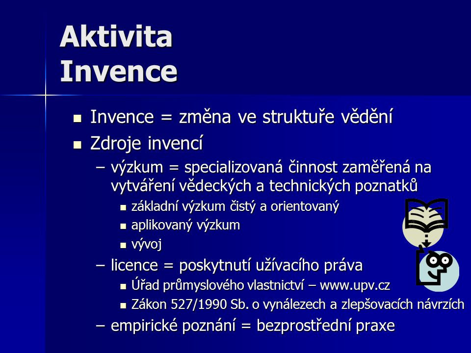 Aktivita Invence Invence = změna ve struktuře vědění Zdroje invencí