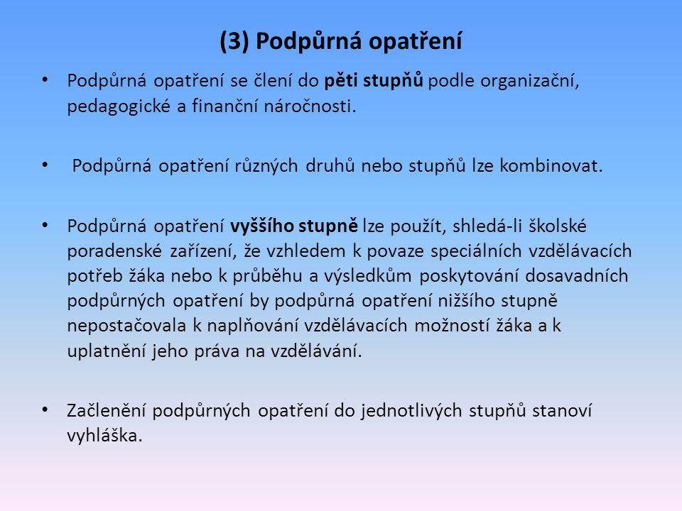 (3) Podpůrná opatření Podpůrná opatření se člení do pěti stupňů podle organizační, pedagogické a finanční náročnosti.