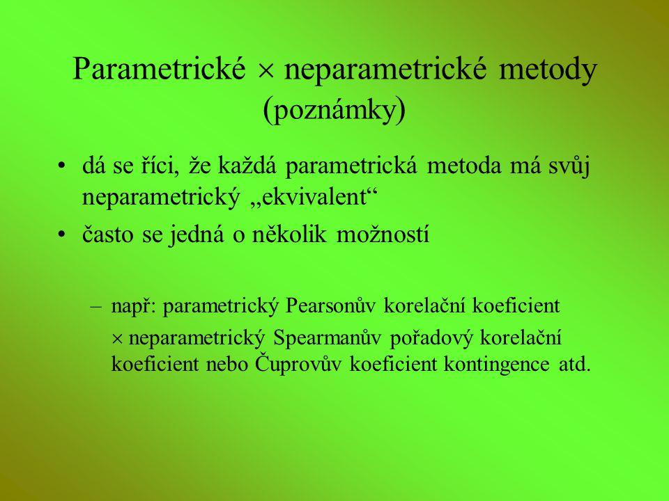 Parametrické  neparametrické metody (poznámky)