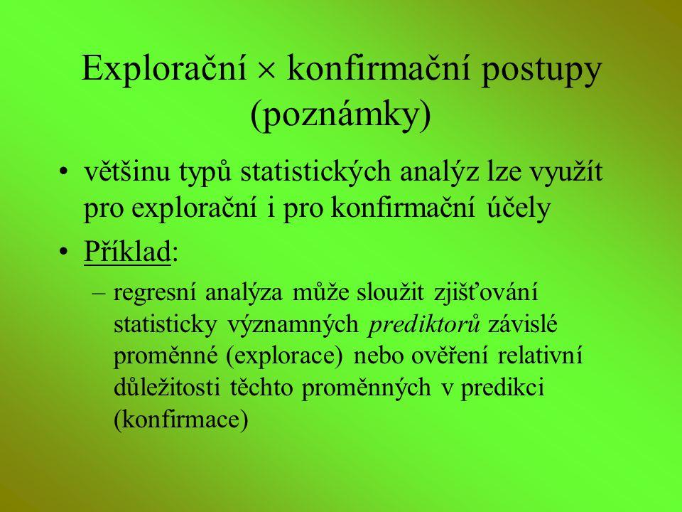 Explorační  konfirmační postupy (poznámky)