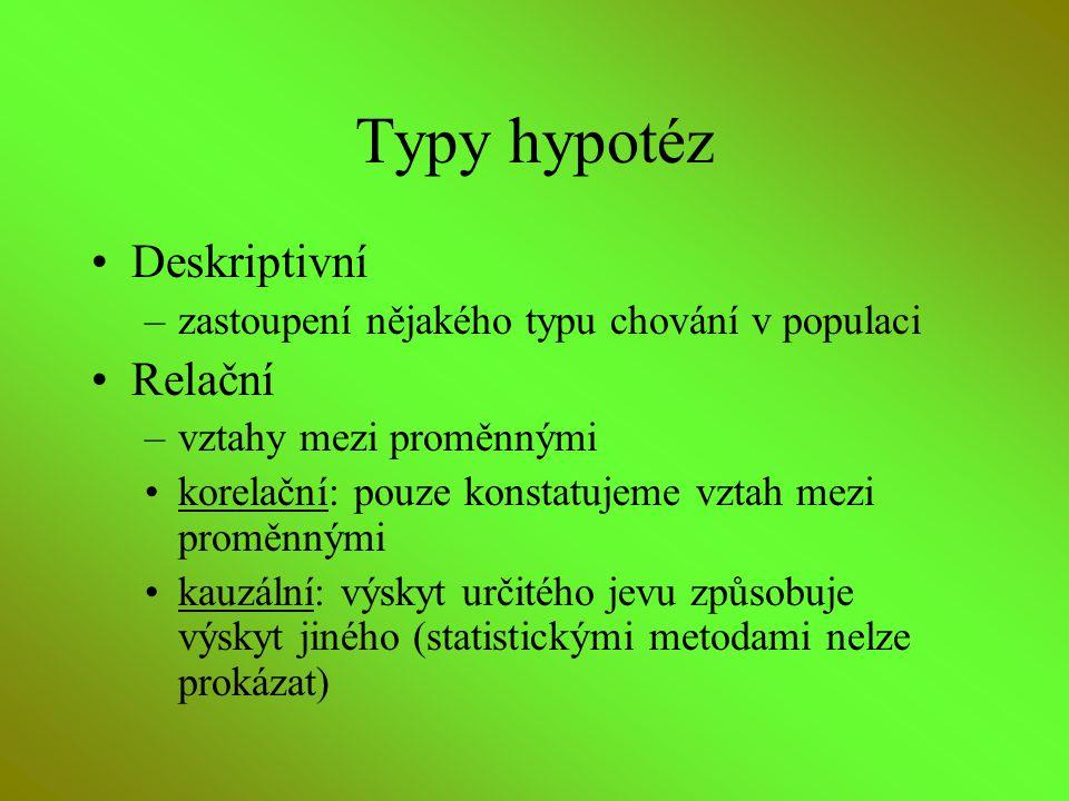 Typy hypotéz Deskriptivní Relační