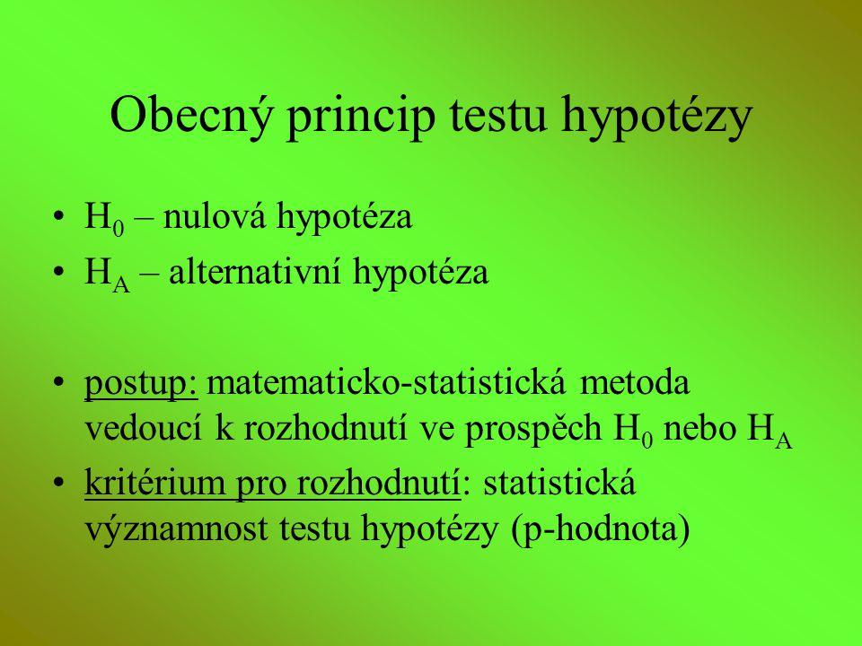Obecný princip testu hypotézy